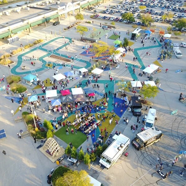 aerial view of Burtonsville Placemaking Festival