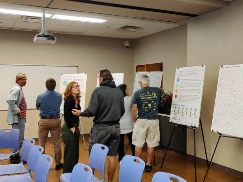 Community members view Montgomery Planning posters at Olney Library