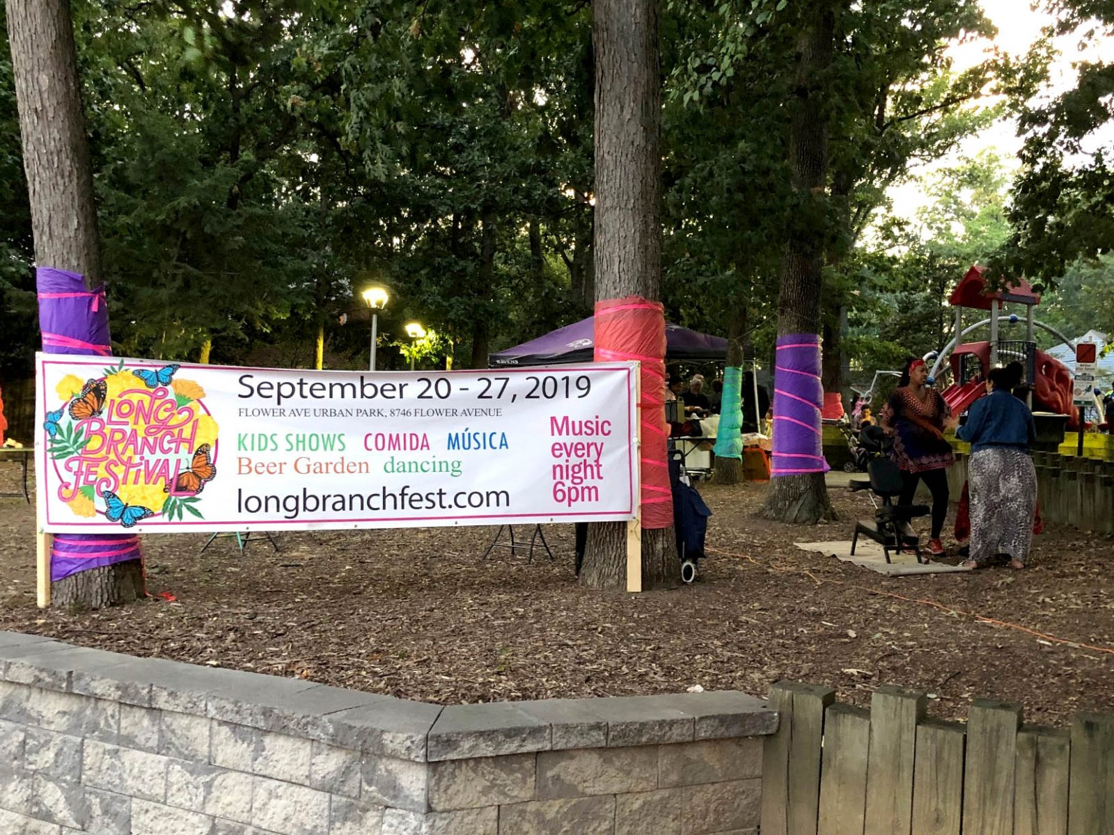 Long Branch Festival Week banner in Flower Ave Park