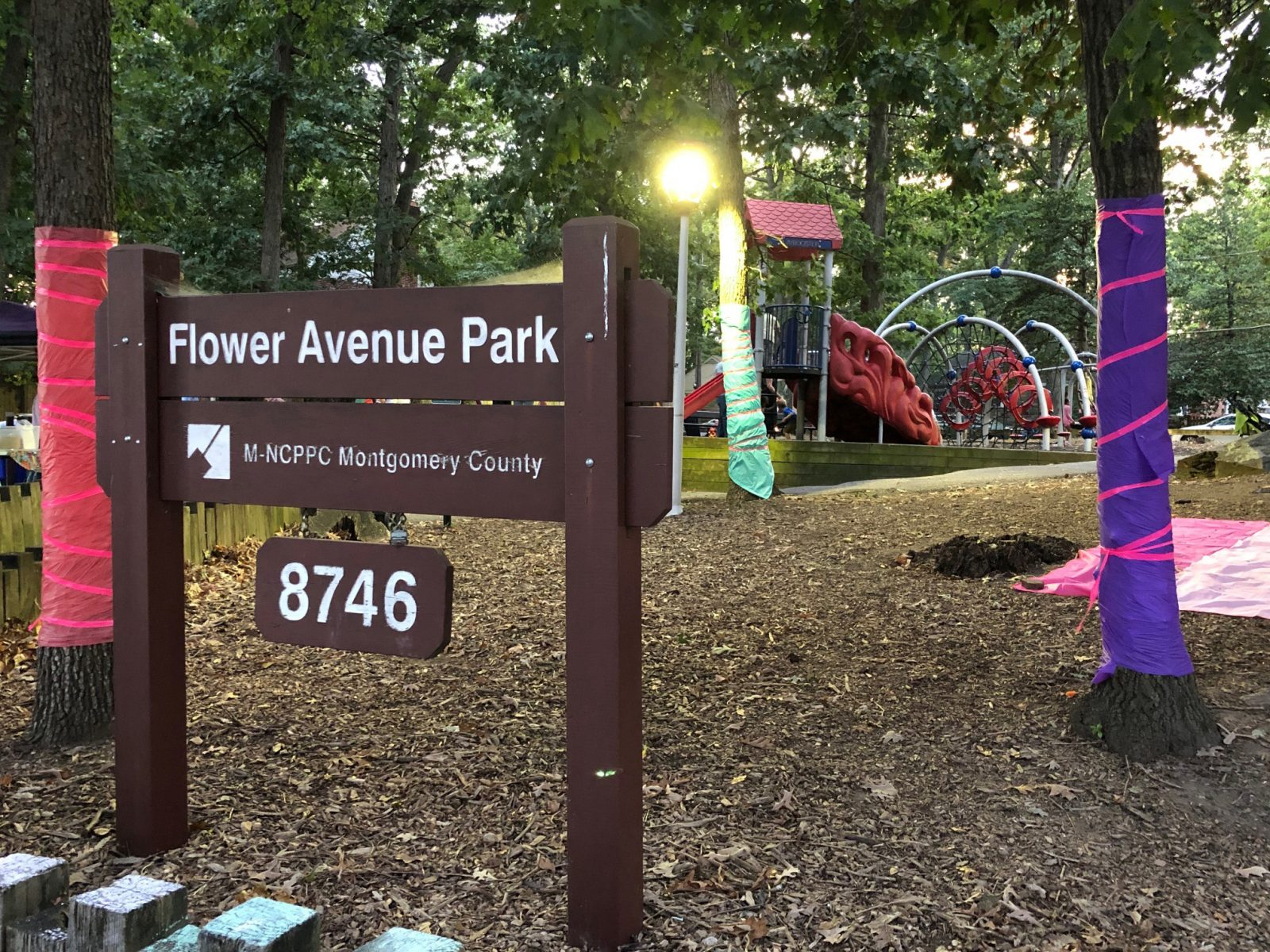 Flower Ave PArk decorated for Long Branch Festival Week