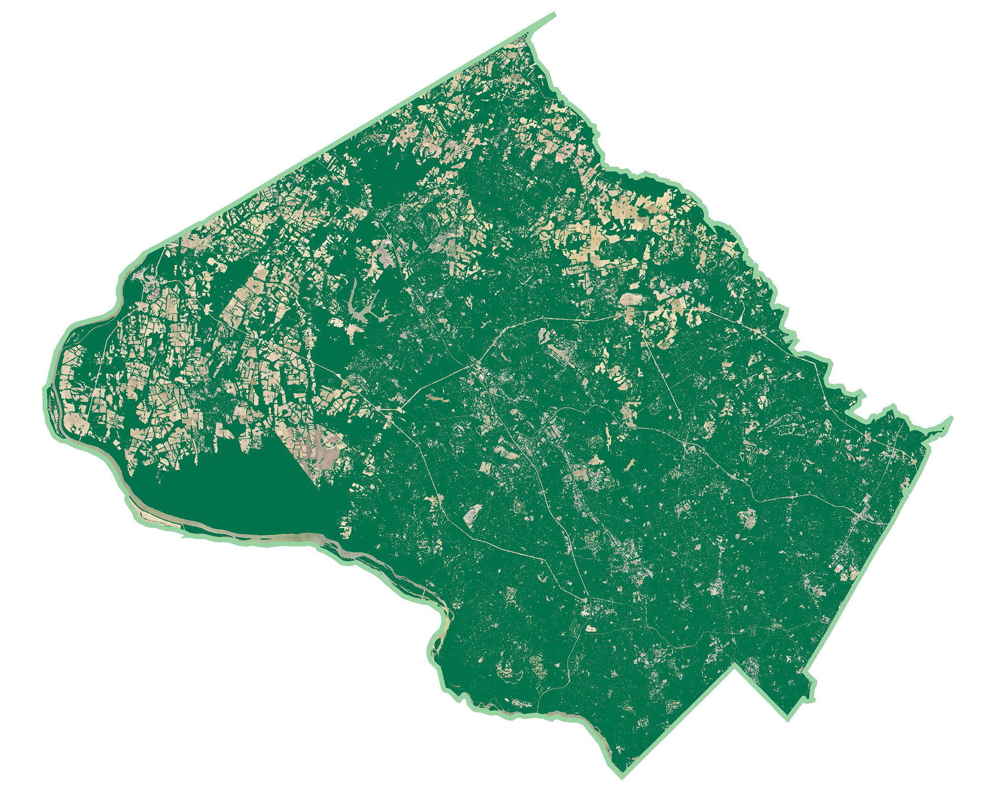 Map of Montgomery County showing 46% of the county is covered by tree canopy