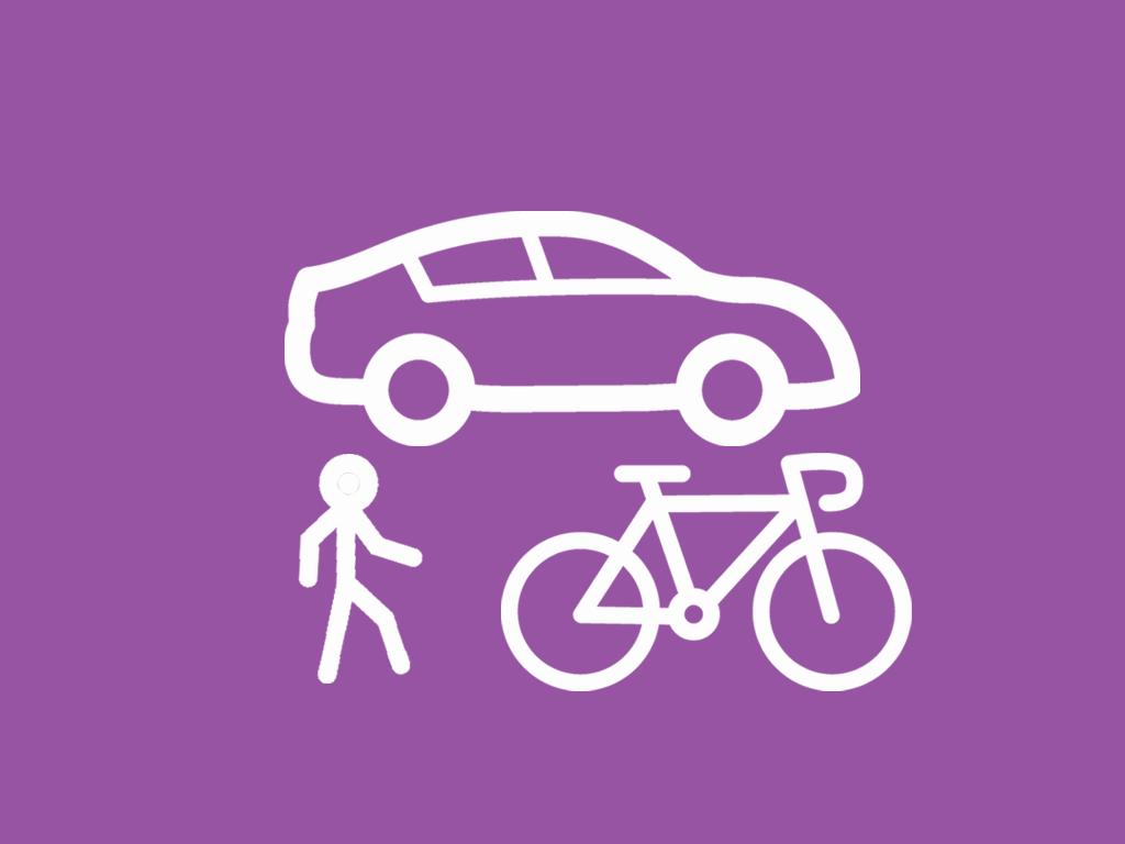car, pedestrian amd bicycle