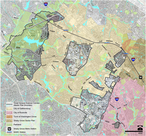 Map of Great Seneca Science Corridor Master Plan. Click to down PDF with large image and descriptive text.
