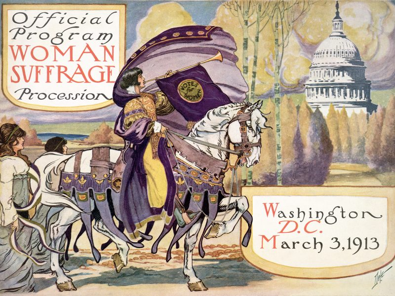 "Illustration with woman on horseback blowing a horn with U.S. Capitol dome in background. Titled, ""Official program, Woman Suffrage Procession,"" with date and location, Washington, D.C. March 3, 1913."