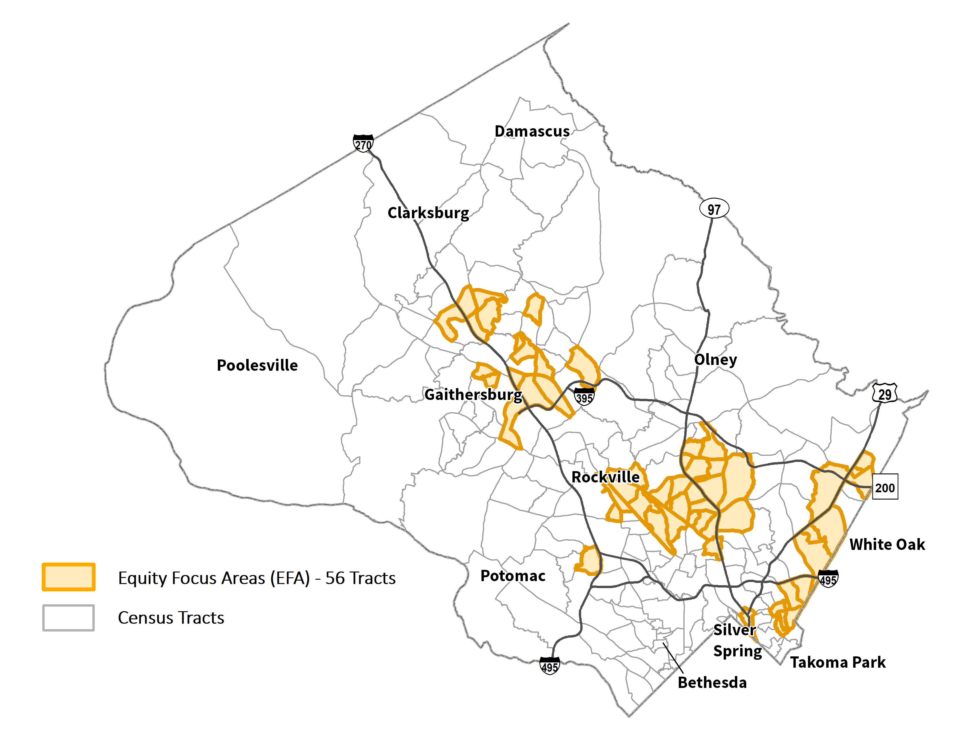 Map of Equity Focus Areas. These areas are primarily found along the I-270 Corridor, the Route 29 Corridor, and the eastern portion of Down County.
