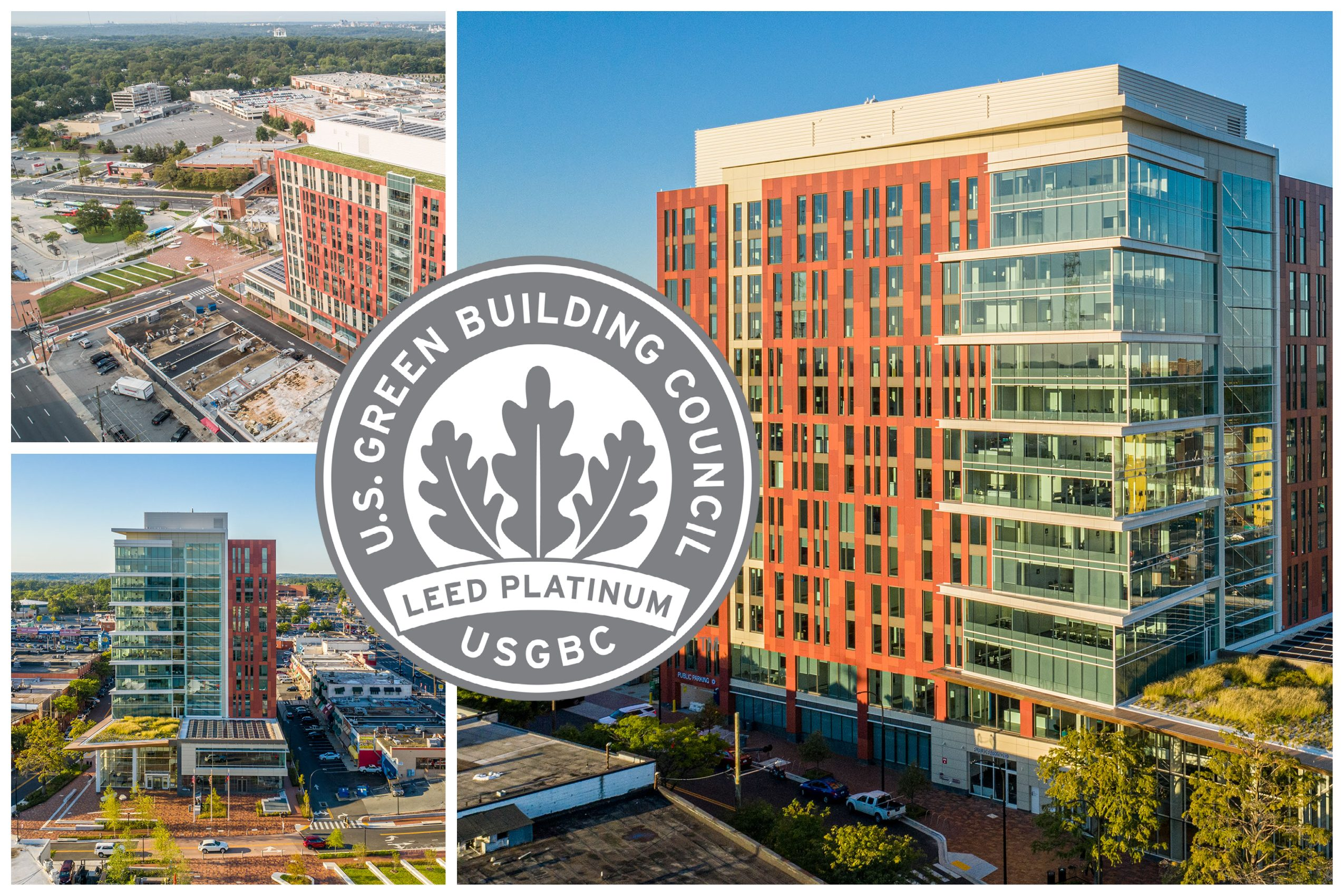 Exterior views of Wheaton HQ and LEED Platinum seal