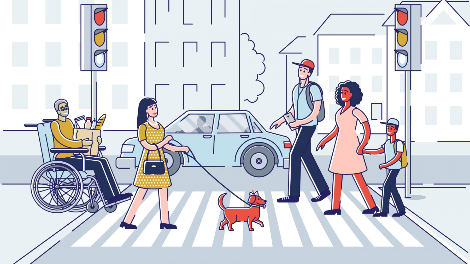 people crossing a street graphic