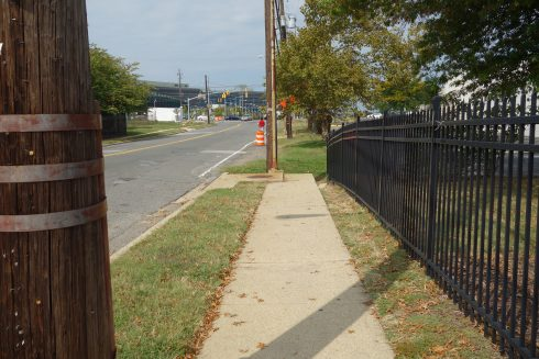 a point of view of a side walk that ends