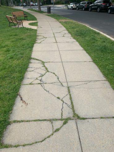 side walk that is damaged