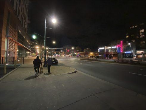 a street with little light