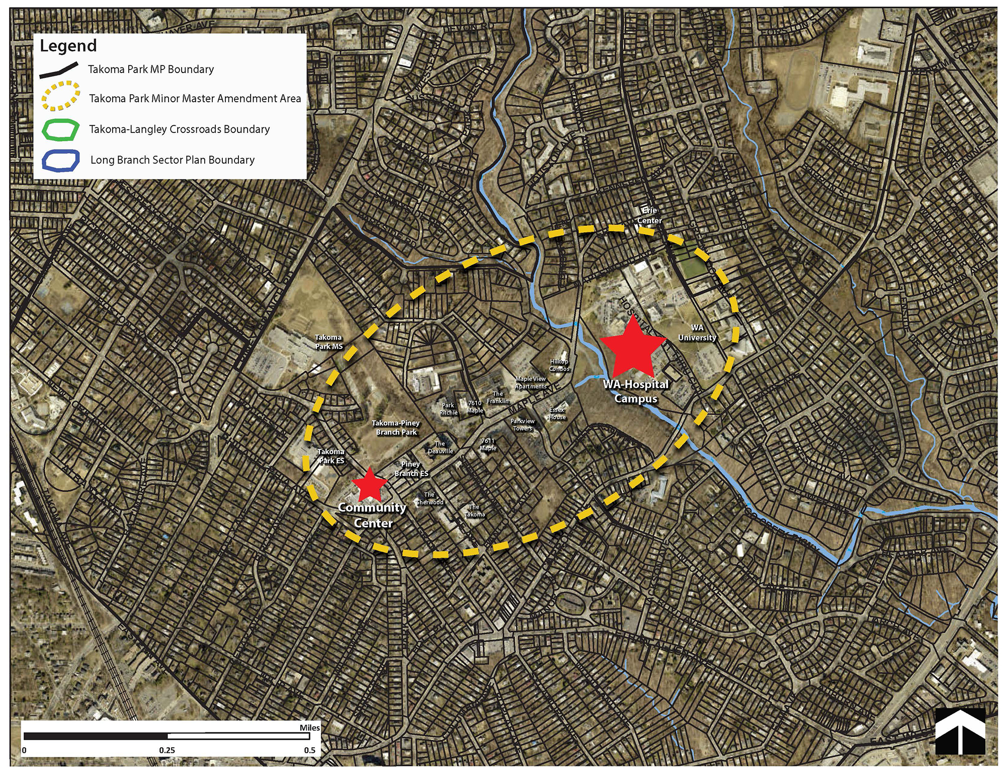 The plan boundary has not yet been finalized by the Montgomery Planning Board. This boundary represents a general area of focus