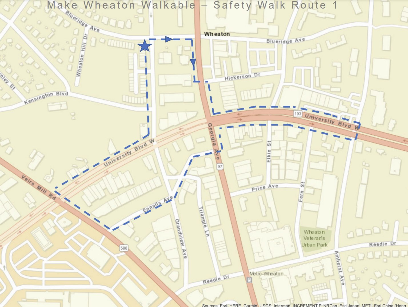 Walkable Wheaton audit route map