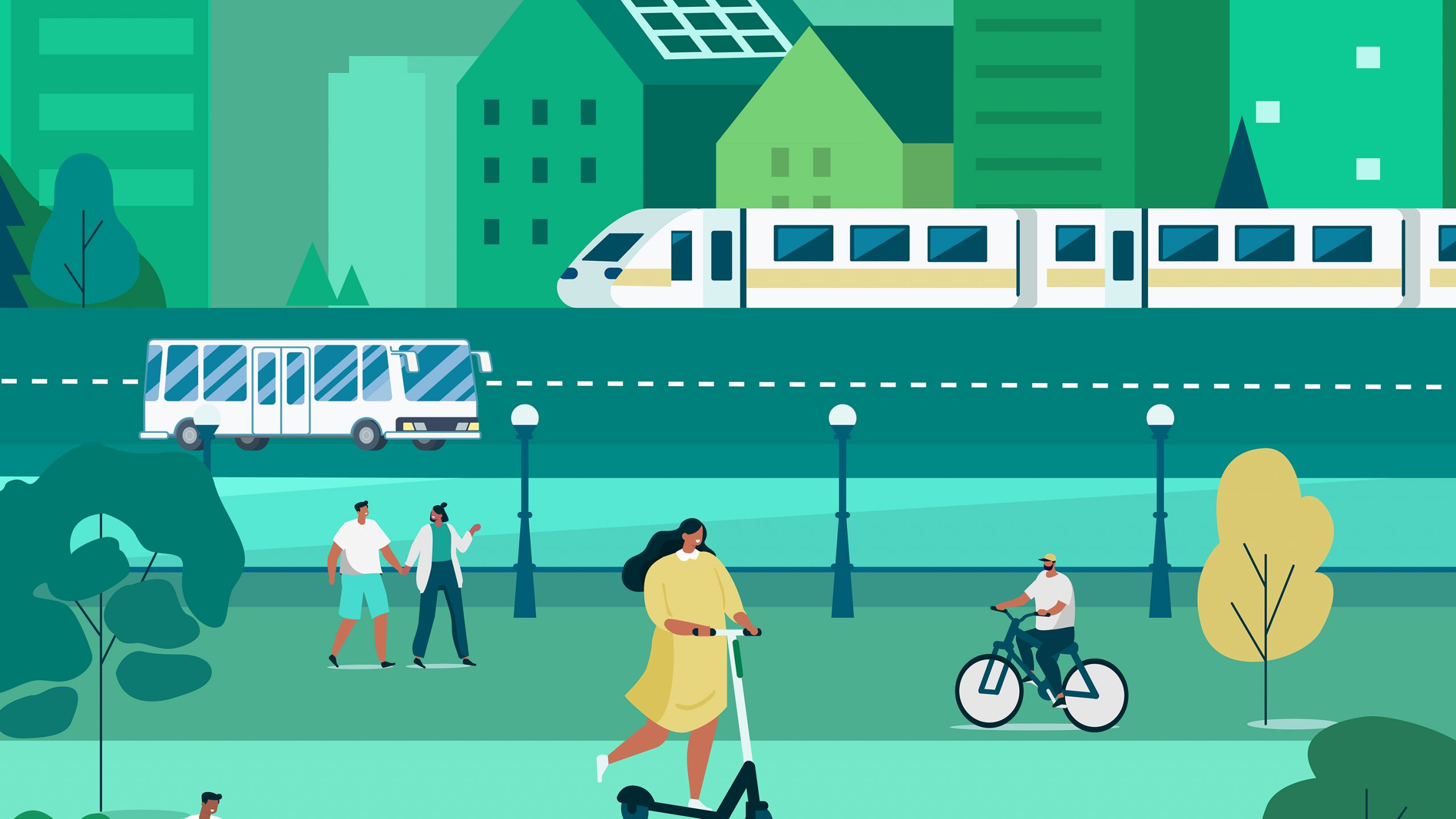 transportation monitoring graphic shows trains, buses, bikes and more
