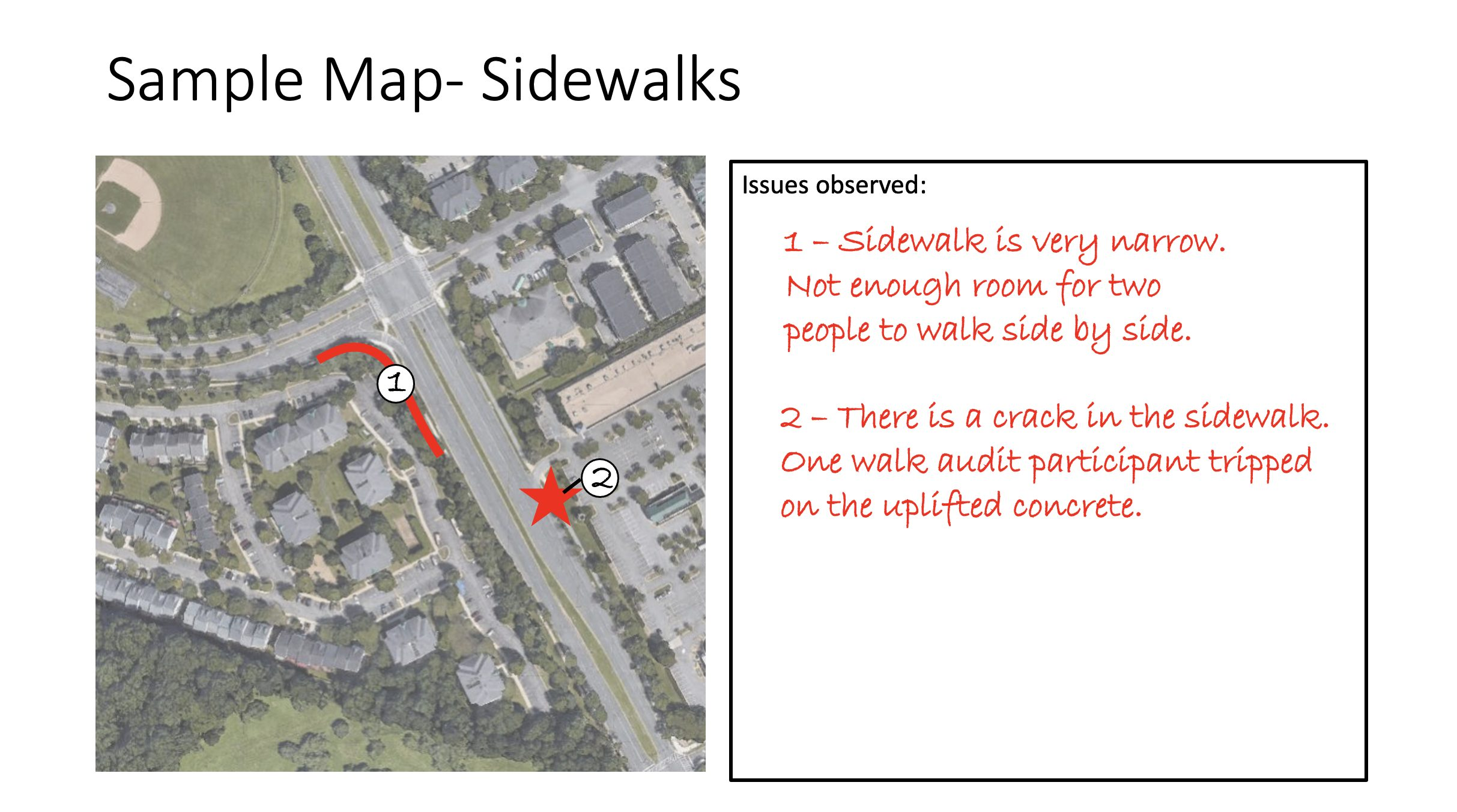 an example of how to fill out data collection for the walk audit